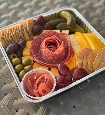 Cheese, Meat, Crackers, Fruit Tray
